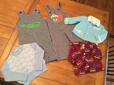 5 Piece Lot Vintage mid century 18 24M  Boy Clothes rompers sweater jackets
