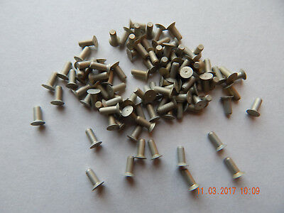 "ALUMINUM COUNTER SUNK FLAT HEAD SOLID RIVETS 3/32 x 1/4"" 100 PCS. NEW"