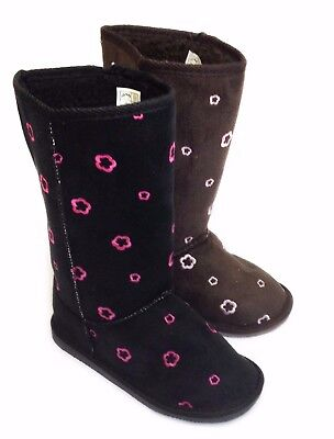 Kids Infant Girls Mid Calf Lined Black Ankle Boots Flat Heel Booties Shoes Size