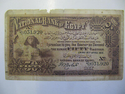 Egypt 50 Piastres Banknote P.11 Gd (Extremely Rare Note) 18 April 1915