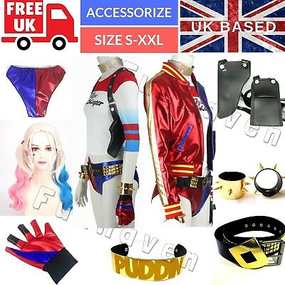 Complete Harley Quinn Outfit Full Costume Adult Accessories UK Suicide Squad Set