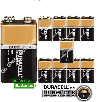 10 x Duracell 9V Alkaline Batteries Plus Duralock CopperTop PP3 LR22 BLOC MN1604