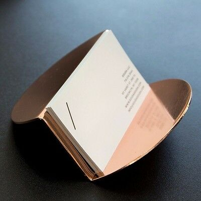 Modern Copper Business Card Holder - SAMPLE, Rose Gold, Desk Accessory, Gift