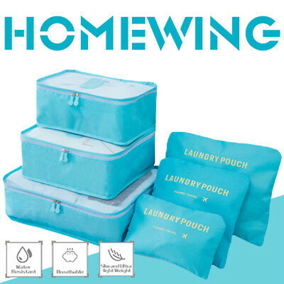 6Pcs Packing Cube Travel Luggage Organiser Clothes Suitcase Storage Pouch Bags