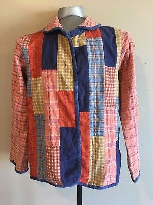 Vintage Clothing Hand Made Quilted Jacket Womens Medium Red Blue Buttonless