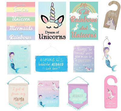 Unicorn / Mermaid hanging sign metal wooden gift pink blue Rainbow Wall plaque