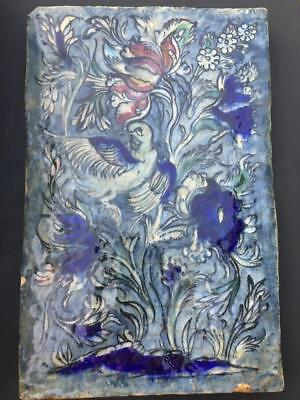 HUGE ANTIQUE 19th C. OTTOMAN ISLAMIC SYRIAN /DAMASCUS STYLE TILE -DOVE & TULIPS