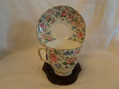 Crown Staffordshire Springtime Cup and Saucer and 2 plates