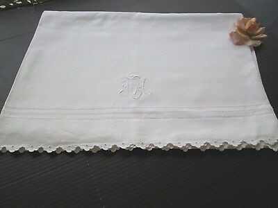"ANTIQUE FRENCH LINEN TROUSSEAU SHEET MONOGRAM ""F E M"" SCALLOPED EDGE.70""x88""."