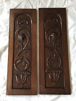 Pair of Antique French Carved Wood Architectural Panel Door w/ chimera griffin