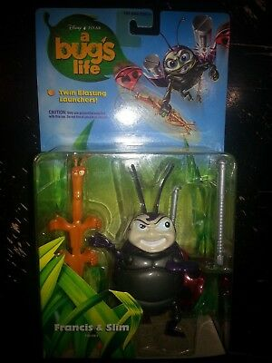NEW Vntg Disney Pixar A Bug's Life Francis & Slim Action Figure 1998 MATTEL KY