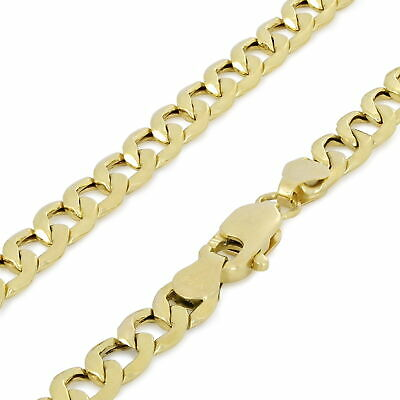 "14K Yellow Gold 4MM Italian Curb Cuban Chain Link Necklace Mens Womens 18""- 30"""