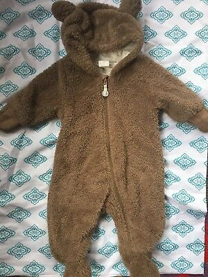 H&M Brown Infant Baby Bear Suit 1-2 months