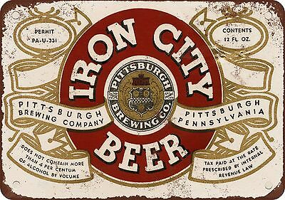"""7"""" x 10"""" Metal Sign - 1933 Pittsburgh Iron City Beer - Vintage Look Reproduction"""