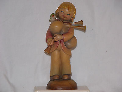 Anri Ferrandiz Orchestra Boy Playing Pipes Wood Carving Figure Italy