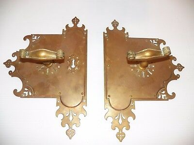 Vintage/Antique Bronze Door Pulls w/Back Plates