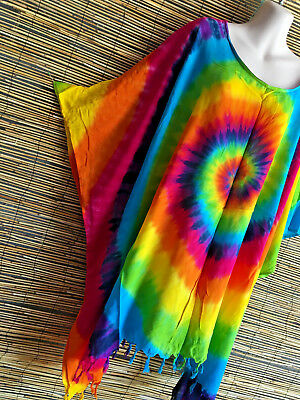 Lot of 4 rayon rainbow caftans.suit + sizes too.festival,boho hippie design.cool