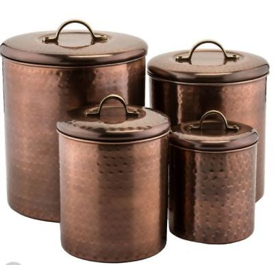 Hammered Antique Copper Canisters with Fresh Seal Covers, Set of 4