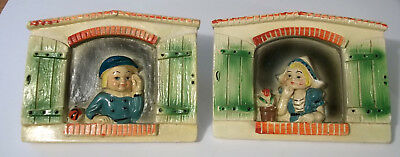 Vintage Dutch Boy Girl Chalkware Wall Hanging Wall Decor 6x5 Inches Each