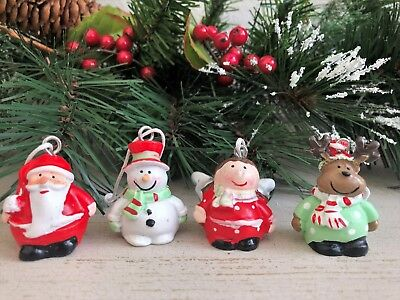 Set of 4 Cute Mini Character Christmas Tree Hanging Decorations Ornaments Bauble