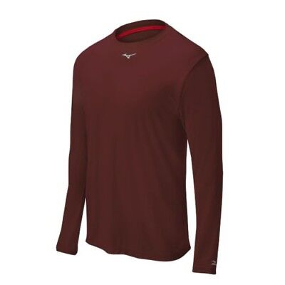 (X-Large, Cardinal) - Mizuno Comp Long Sleeve Crew Top. Shipping is Free