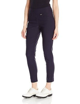 (Size 16, Navy) - EP Pro Golf Women's Bi-Stretch Pull On Slim Ankle Pants