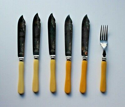 5 Vintage Faux Bone Fish Knives Engraved Stainless Steel  By Firth + 1 Fork