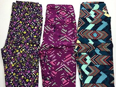3 pair of LulaRoe Leggings-One Size-Free Priority Shipping-Brand New Never Worn.