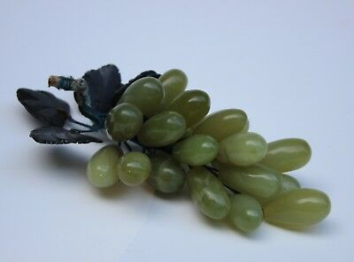 """Bunch of Vintage/Antique Green Jade/Jadeite Grapes with Dark Leaves, 8 1/2"""" long"""