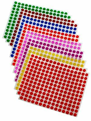 COLORED CODING CIRCULAR Map Dots Stickers Rounded Color Labels 1/4