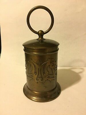 Silver Crest Brass on Bronze Cigarette Holder with Cover