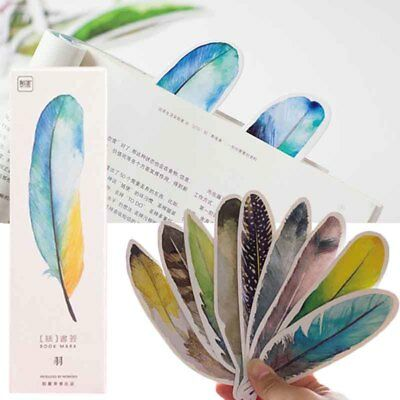 30Pcs/1Box Feather Shaped Bookmarks Marker Stationery Gift Cartoon School Supply