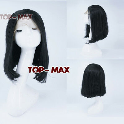 """14"""" Black Short Bob Straight Daily Fasching Lace Front Hair Wig Heat Resistant"""