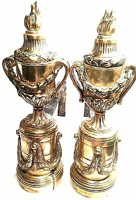 Antique Louis Xvi Style  Bronze Brass Ornate Fireplace Andirons Flame Garland