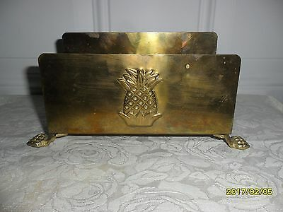 Vintage Footed Solid Brass (Heavy) Letter Holder With Pineapple!!!