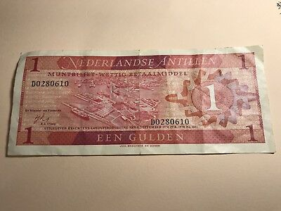 1970 Netherlands Antilles 1 Gulden world foreign paper money great condition