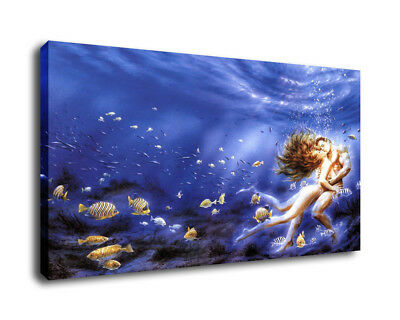 Art Oil Painting Print On Canvas Home Decor The Couple Undersea Kissing Framed