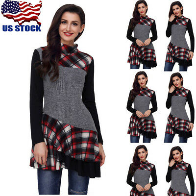 18b56abb8 US Womens Turtleneck Plaids Long Sleeve Irregular Hem Tunic Pullover Jumper  Tops