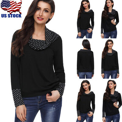 Pregnant Maternity Nursing Tops Breastfeeding T-Shirt Dot Long Sleeve Blouse USA