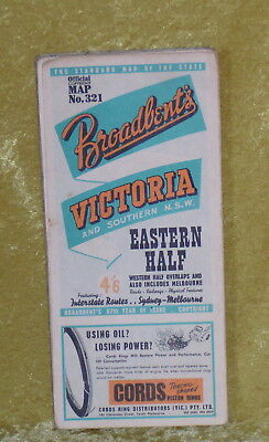Road Map 1958/9 BROADBENTS VICTORIA EASTERN HALF (21 panels, single-sided)