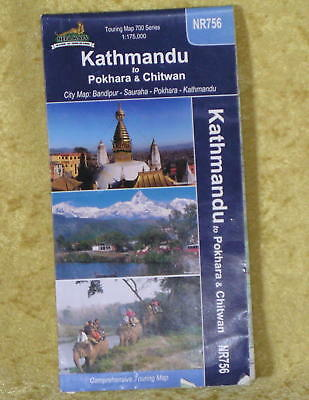 TOURING Road MAP of KATHMANDU Nepal 35 panels per side.
