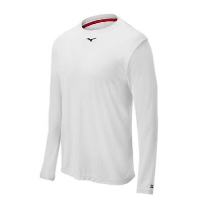 (XX-Large, White) - Mizuno Comp Long Sleeve Crew Top. Delivery is Free