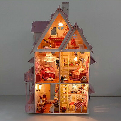 1 Set Doll House Wooden Cottage with Furniture Construction Kids Girl Play New.