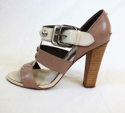 SACHI 2tone beige taupe T-BAR heel SHOE 8.5 9 strappy CHIC BUY 3+ITEM= FREE POST