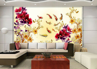 3D Red Flowers Fishs 8 Wall Paper Murals Wall Print Wall Wallpaper Mural AU Kyra
