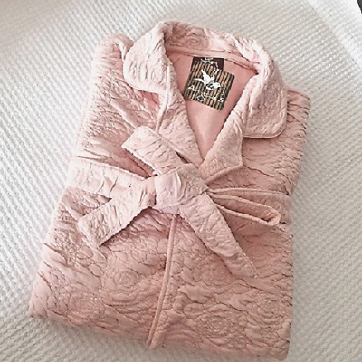 Luxurious Pink Quilted Victorian Style Emma Womens Dressing Gown ~ Rose Pattern