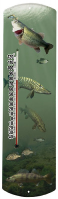 Heritage America by MORCO 375F-P Fish-Photo Outdoor or Indoor Thermometer, 20-In