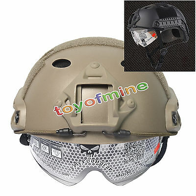 Military Tactical Airsoft Paintball SWAT Protective Fast Helmet With Goggle