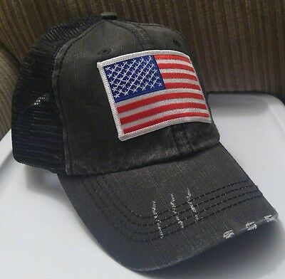 RED WHITE & Blue USA Flag Distressed Black Trucker Hat Low Profile Cotton  Mesh