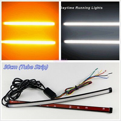 Pair Switchback Flowing 30cm Car DRL LED Light Strip Tube Sequential Turn Signal